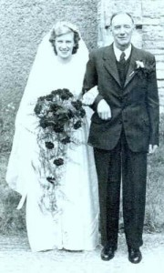 Betty Strawford and her father Arthur at Ray and Betty's wedding 1951