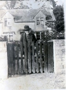Richard Pitts at his garden gate, 1912. Photo taken by Lillian Tremaine, a resident of Sherborne, one year prior to his death.